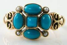 DELIGHTFUL 9CT YELLOW GOLD  VICTORIAN INS TURQUOISE & SEED PEAR RING