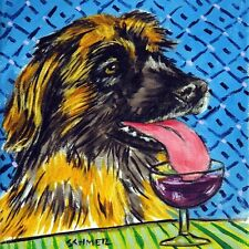 Leonberger at the wine bar animal dog picture art ceramic Tile abstract folk pop