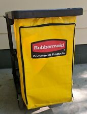 Rubbermaid Janitorial Push Cart With Zippered Yellow Vinyl Garbage Bag 3 Shelf
