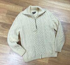 Gaeltarra | Vintage Fisherman Zipper Cardigan |100% Wool | Cream | S | Ireland