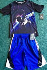 Nwt Nike Air Jordan Boys L Black/Blue/White Space Dunk Shorts Set Ylg