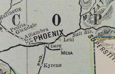 "Vintage 1902 Arizona Territory Map 14""x22"" ~ Old Antique Original Globe Phoenix"