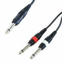5m 6.35mm MONO Jack Y Splitter Cable Lead 1 to 2 x Plug Guitar Amp 6.3mm 1/4""
