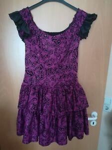 Violett schwarzes Party Kleid mit Tülleinsatz - Größe 40