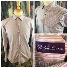 * RALPH LAUREN * Purple Label Purple/White Striped French Cuff Dress Shirt 15.5