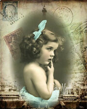 QUILT ART FABRIC BLOCK*LITTLE FRENCH GIRL TEAL BOW PARIS COLLAGE*GREAT *5X7 INCH