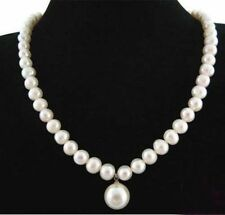 """7-8MM Real Natural White Pearl&12MM Shell Pearl Round Bead Pendant Necklace 18"""""""