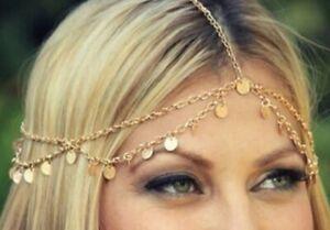 Bohemian Head Chain Headband Headpiece Hair Gold Metal Tassel Coin Boho H2 UK