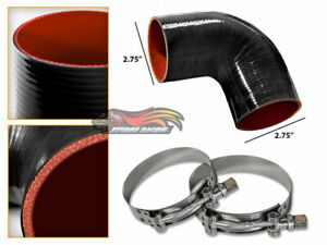 "BLACK Silicone 90 Degree Elbow Coupler Hose 2.75"" 70 mm + T-Bolt Clamps FD"