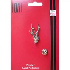 Silver Roe Deer Antlers Pewter Lapel Pin Badge Handmade In England Hunting New