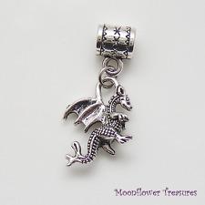 Tibetan Silver Winged Dragon Charm fit European Bracelet