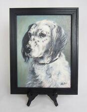 Vintage Rare Artist Lily Fast Signed English Setter Framed Dog Portrait Painting