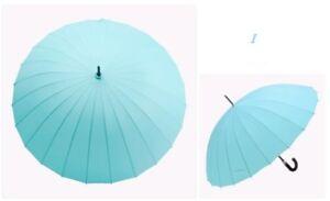 Women Umbrellas Colorful Long Handle Windproof Umbrella Rain Sun Parasol 24 Ribs