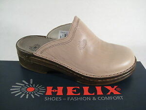 Helix Clogs Mules Slippers Beige/Stone Real Leather
