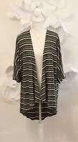LULAROE Lindsay Striped Ribbed Cardigan Sweater Sz S Green|Black|White Kimono