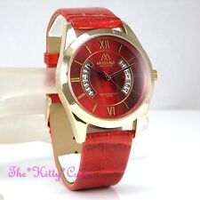 Gloss Gold Plated Case Unisex Round Wristwatches