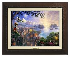 Thomas Kinkade Disney Pinocchio 12 x 16 Canvas Classic (Espresso Frame)