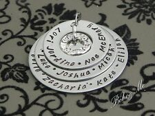 Personalised  Hand Stamped Family Any Names 3 Stack Family Pendant