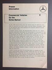 1968 Mercedes Benz Commercial Vehicles Press Release, Press Kit Pressemappe RARE