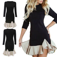 Women Long Sleeve Frill Ruffle Patchwork Mini Dress Cocktail Party Bodycon Dress