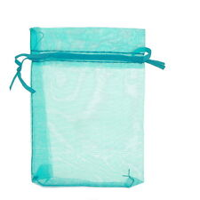 25pcs 9x12cm Premium Lightblue Organza Jewelry Gift Pouch Bags Wed X-mas Favor
