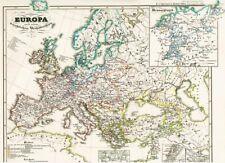 Landkarte EUROPA Mittelalter 🗝 🔥 ⚔ 🏰 Inquisition Kirche 1852