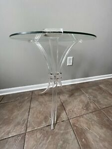 Vintage MidCentury Acrylic Lucite Base Hollywood Regency Glass Top End Table