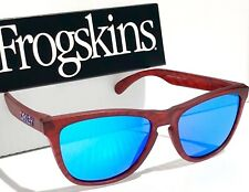 NEW* Oakley Frogskins Matte Red Woodgrain w Sapphire Blue Iridium Sunglass 9013