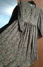 Laura Ashley Vintage Floral Full Circle Long Sleeve Wool Blend Tea Dress Size 18