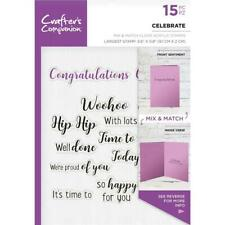 New  Crafters Companion rubber Stamp CLEAR word stamps CELEBRATE free USA ship