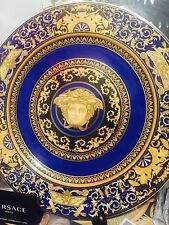"VERSACE MEDUSA BLUE CHARGER PLATE GOLD SERVICE 12"" /30cm ROSENTHAL WALL NEW SALE"