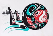 Danny Dennis Original Painting On Paper Hand Signed Native Killer Whales 1993.