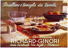 PUBBLICITA' RICHARD GINORI SERVIZIO FLOREALE PORCELLANA CERAMICA TAVOLA 1935