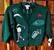 Boys Toddler Cardigan Hunter Green APPLIQUE  Golf sweater size Med 5 NWT