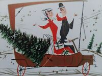 1961 Vtg Retro COUPLE Car MERRY MOTORING Mid Century CHRISTMAS GREETING CARD