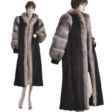 Mint! Top Quality Real Mahogany Mink Fur w/Crystal Fox Fur Full-Length Coat