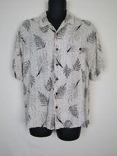 Axist Mens Rayon Beige Leaf Print Short Sleeve Button Down Shirt sz XL