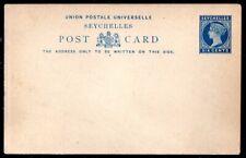 Seychelles: 1893 QVI 6c. postal stationery postcard unused