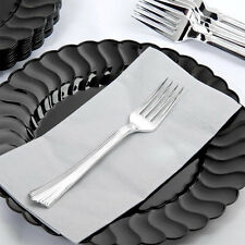 "60  HEAVY WEIGHT PLASTIC FORKS 7"" SILVER WEDDING FREE SHIPPING US ONLY"