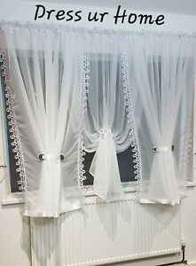 """Ready made voile net curtain white lace guipure150cm x 500cm, 59"""" x 196"""" firany"""