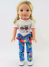 """Owl Love Pant Set Fits Wellie Wishers 14.5"""" American Girl Clothes"""
