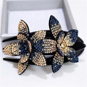 Fashion Womens Rhinestone Double Flower Hair Clip Crystal Hair Combs Hair Claw
