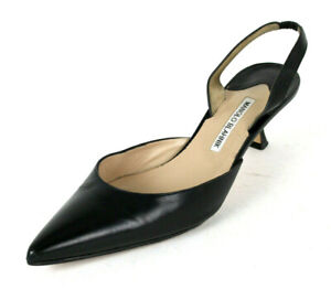 MANOLO BLAHNIK Black Leather Pointed-Toe CAROLYNE Heels Slingbacks 41