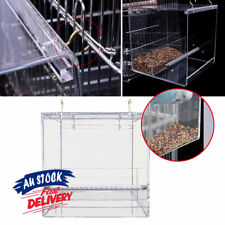 Container Box No Mess Bird Cage Parrot Feeder Acrylic Automatic  Seed Feeding