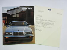 1984  Mercury Cougar Sales Brochure and FORD letter on letterhead