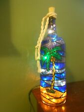 Palm Tree Bottle Lamp Handpainted Stained Glass Lighted