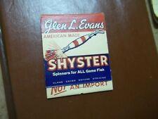 Old Advertising Big Matchbook Shyster Fishing Lures Spinners Glen Evans