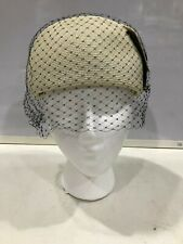 Womens Handmade 1950s Vintage Ivory & Black Pillbox Hat w/ Black Top Veil J1