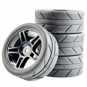 RC 905-6087 Rubber Tires & Plastic Wheel 4Pcs For HSP HPI 1:10 On-Road Car