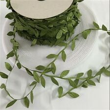 10 Meters Olive Green Leaf Trim Satin Ribbon for Craft Wedding Party Decoration
